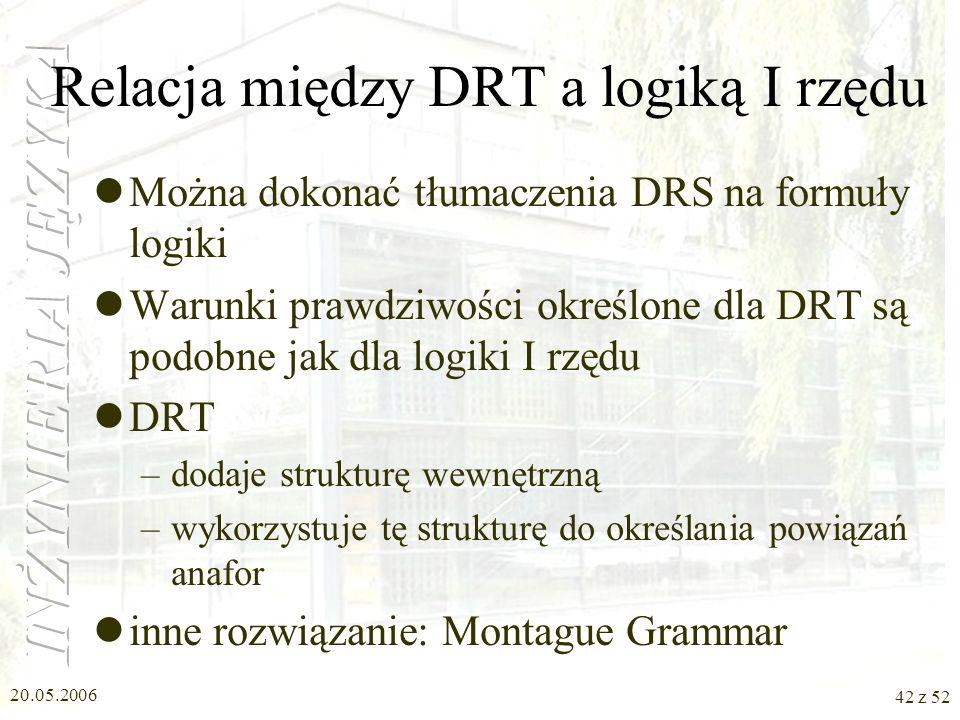 Relacja między DRT a logiką I rzędu