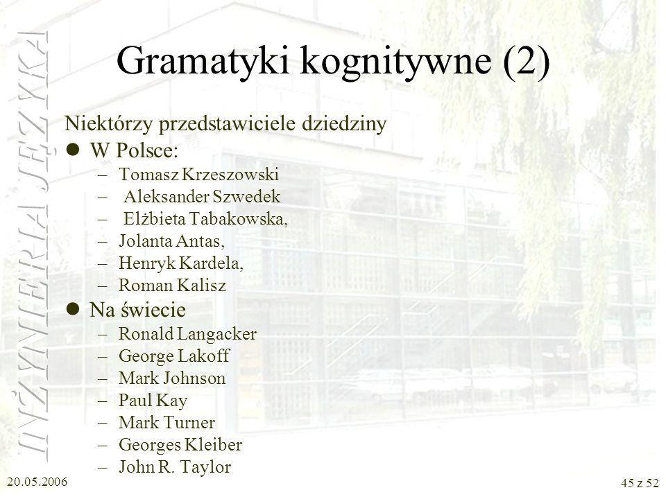 Gramatyki kognitywne (2)