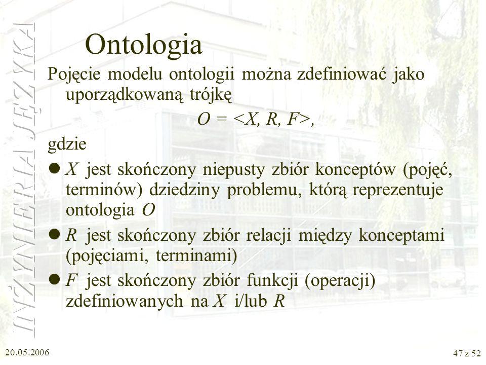 Ontologia Pojęcie modelu ontologii można zdefiniować jako uporządkowaną trójkę. O = <X, R, F>, gdzie.