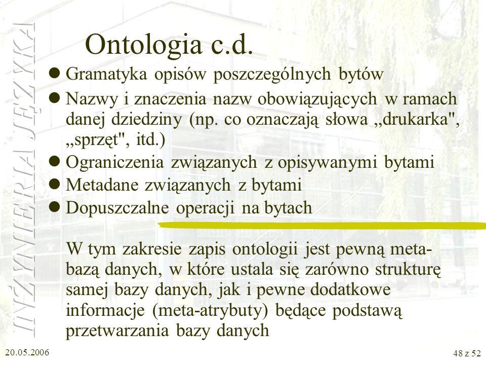 Ontologia c.d. Gramatyka opisów poszczególnych bytów