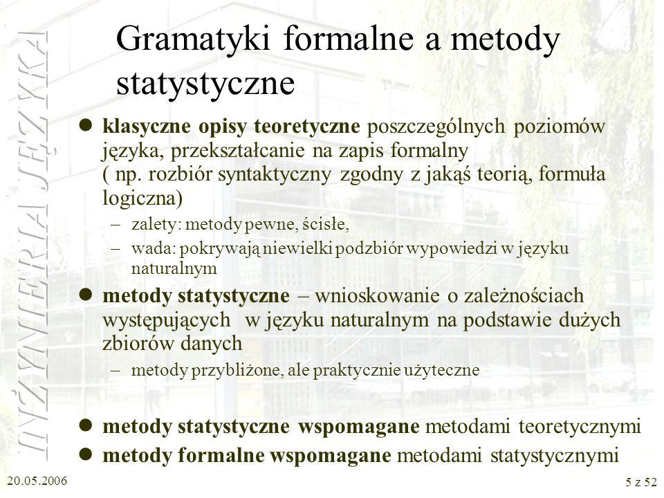 Gramatyki formalne a metody statystyczne