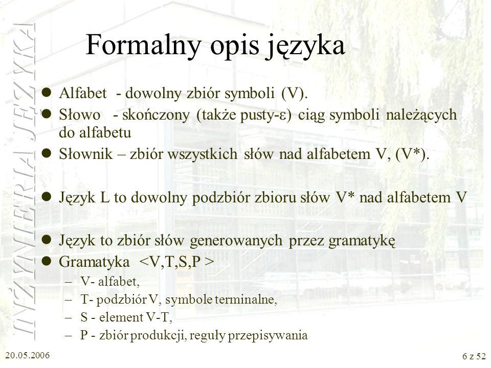 Formalny opis języka Alfabet - dowolny zbiór symboli (V).