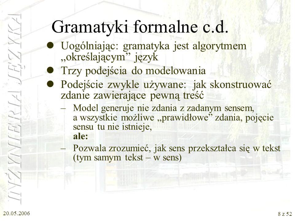"""Gramatyki formalne c.d. Uogólniając: gramatyka jest algorytmem """"określającym język. Trzy podejścia do modelowania."""