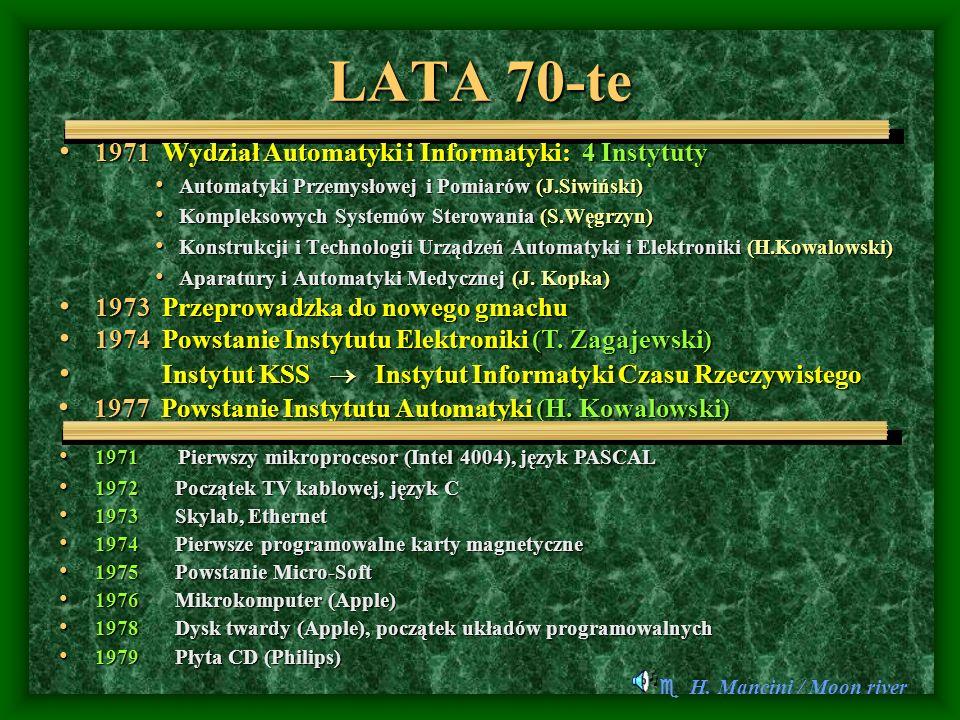LATA 70-te 1971 Wydział Automatyki i Informatyki: 4 Instytuty