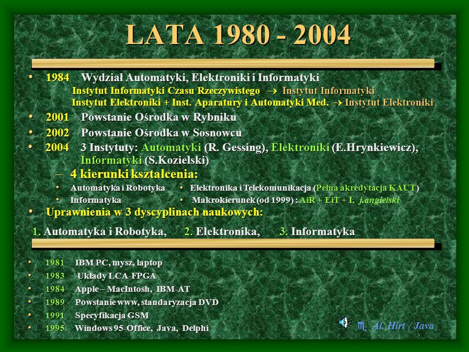 LATA 1980 - 2004 4 kierunki kształcenia: