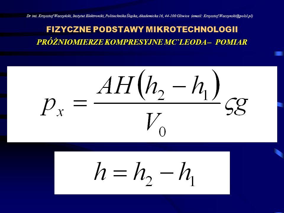 FIZYCZNE PODSTAWY MIKROTECHNOLOGII