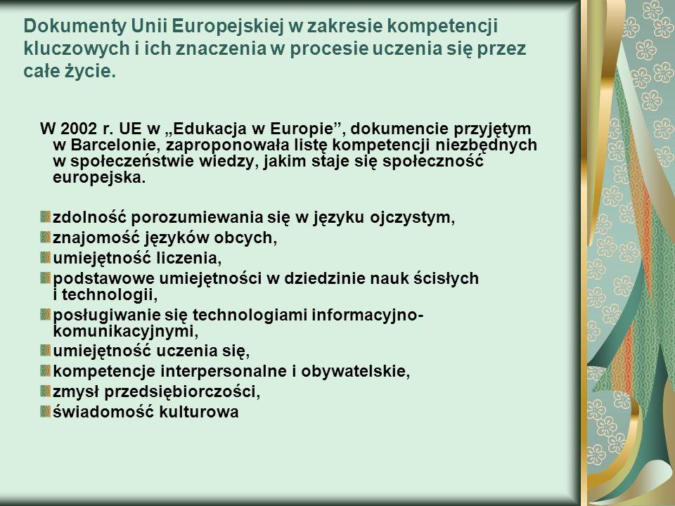 Dokumenty Unii Europejskiej w zakresie kompetencji kluczowych i ich znaczenia w procesie uczenia się przez całe życie.