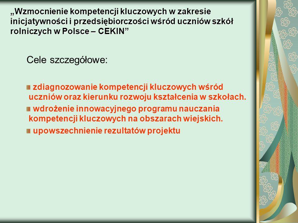 """""""Wzmocnienie kompetencji kluczowych w zakresie inicjatywności i przedsiębiorczości wśród uczniów szkół rolniczych w Polsce – CEKIN"""