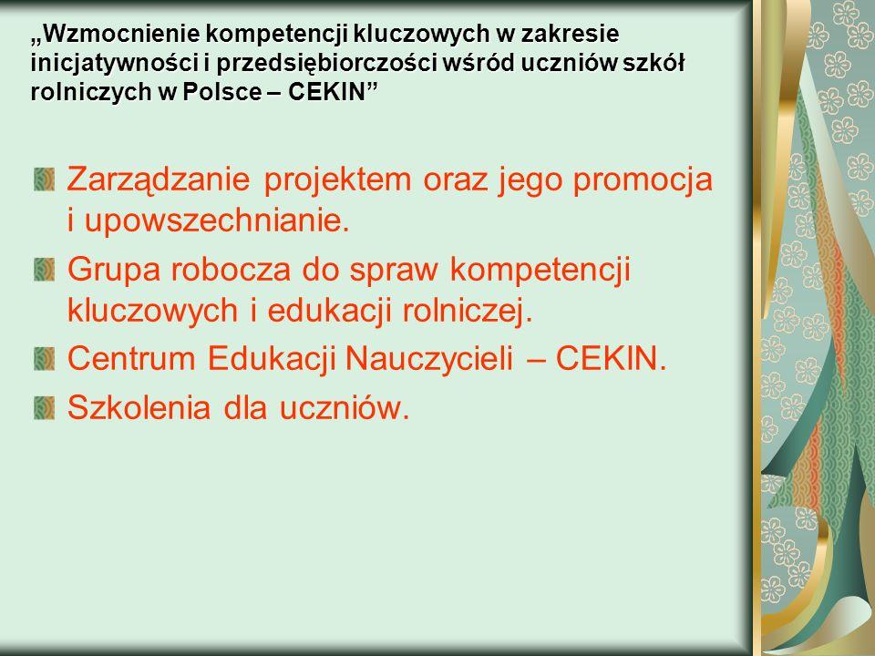 Zarządzanie projektem oraz jego promocja i upowszechnianie.