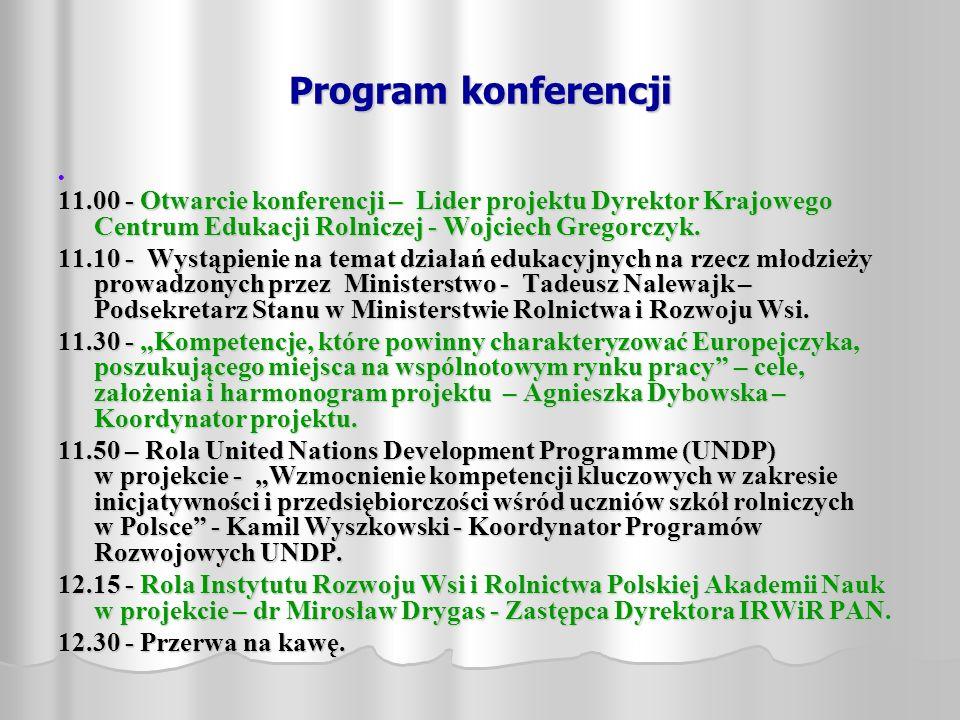 Program konferencji 11.00 - Otwarcie konferencji – Lider projektu Dyrektor Krajowego Centrum Edukacji Rolniczej - Wojciech Gregorczyk.