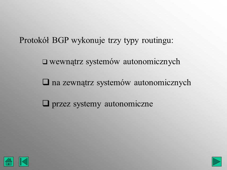 Protokół BGP wykonuje trzy typy routingu: