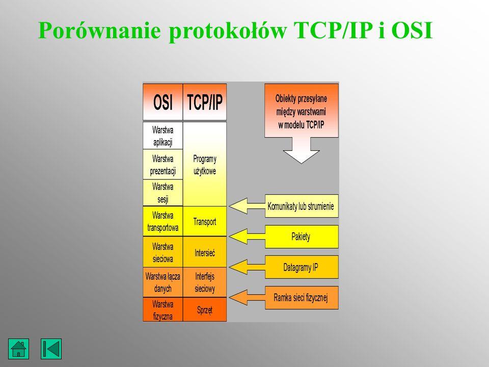 Porównanie protokołów TCP/IP i OSI
