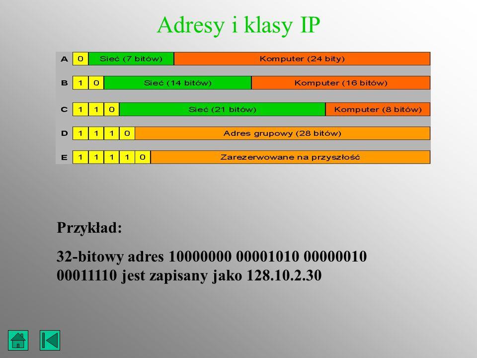 Adresy i klasy IP Przykład: