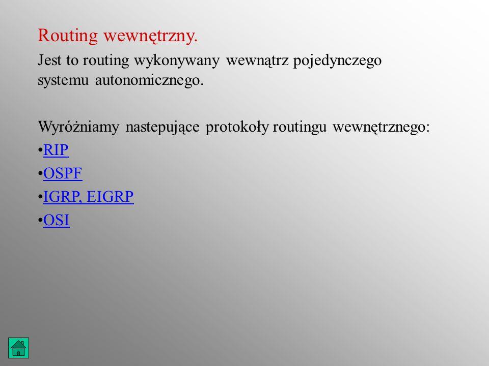 Routing wewnętrzny. Jest to routing wykonywany wewnątrz pojedynczego systemu autonomicznego. Wyróżniamy nastepujące protokoły routingu wewnętrznego: