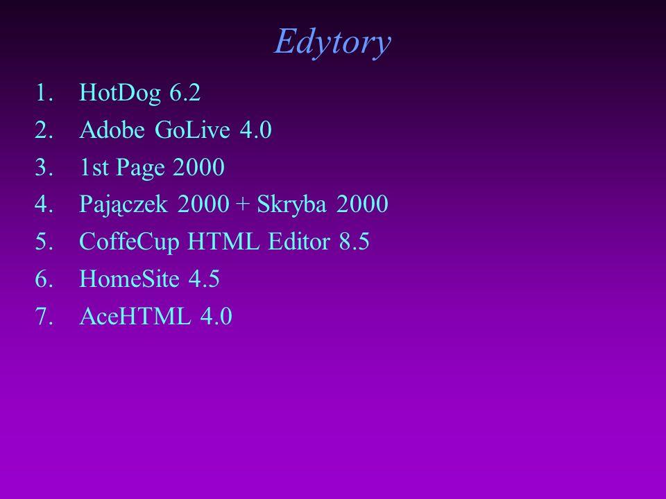 Edytory HotDog 6.2 Adobe GoLive 4.0 1st Page 2000