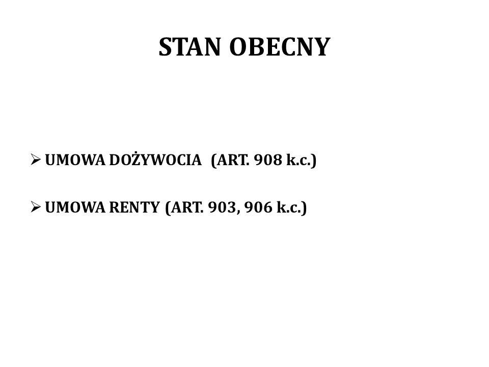 STAN OBECNY UMOWA DOŻYWOCIA (ART. 908 k.c.)