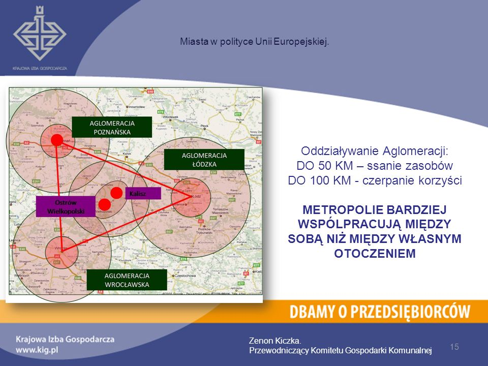 Oddziaływanie Aglomeracji: DO 50 KM – ssanie zasobów