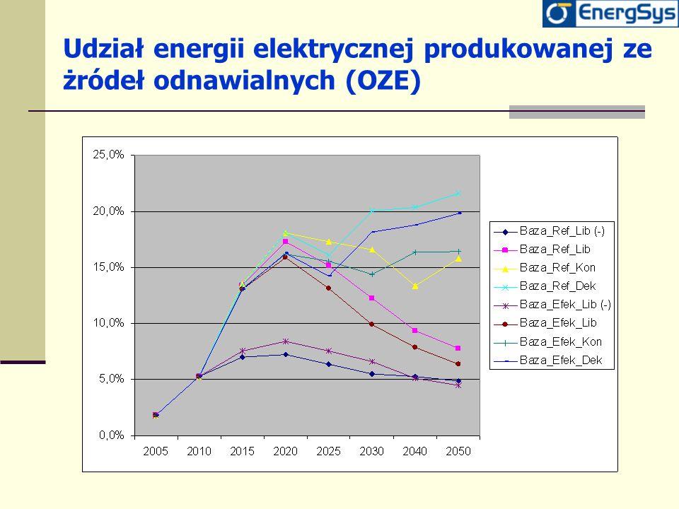 Udział energii elektrycznej produkowanej ze żródeł odnawialnych (OZE)