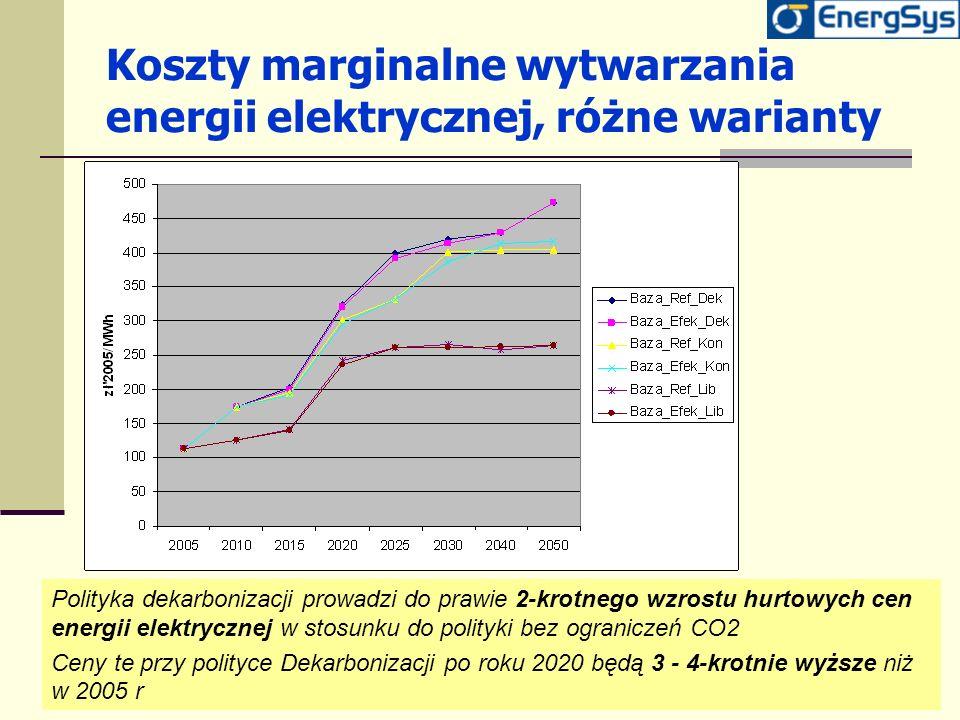 Koszty marginalne wytwarzania energii elektrycznej, różne warianty