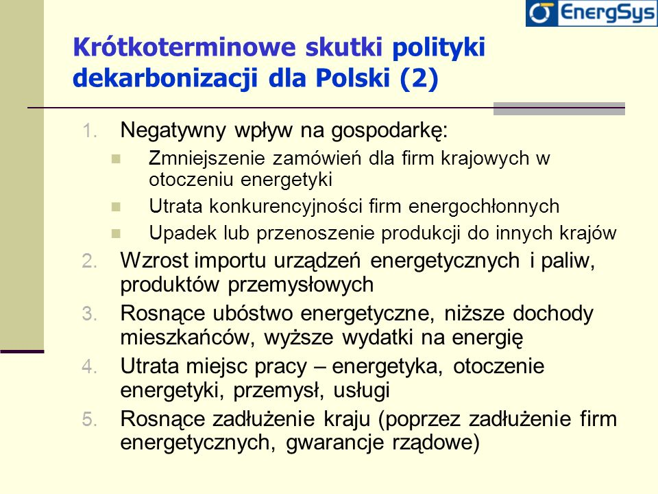 Krótkoterminowe skutki polityki dekarbonizacji dla Polski (2)