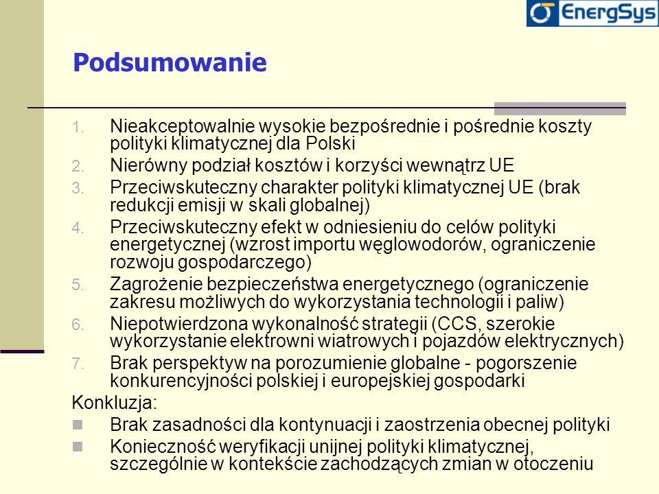 Podsumowanie Nieakceptowalnie wysokie bezpośrednie i pośrednie koszty polityki klimatycznej dla Polski.