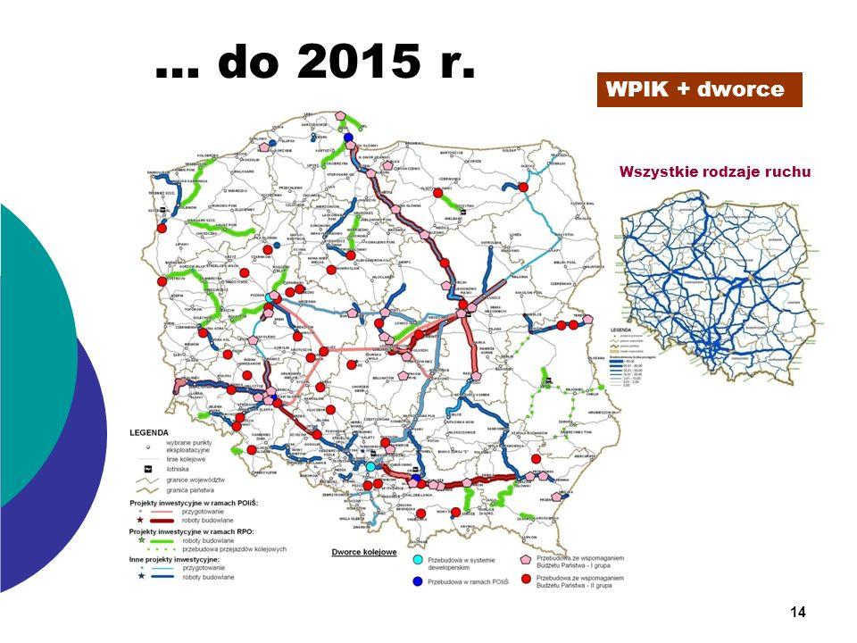 … do 2015 r. WPIK + dworce Wszystkie rodzaje ruchu 14
