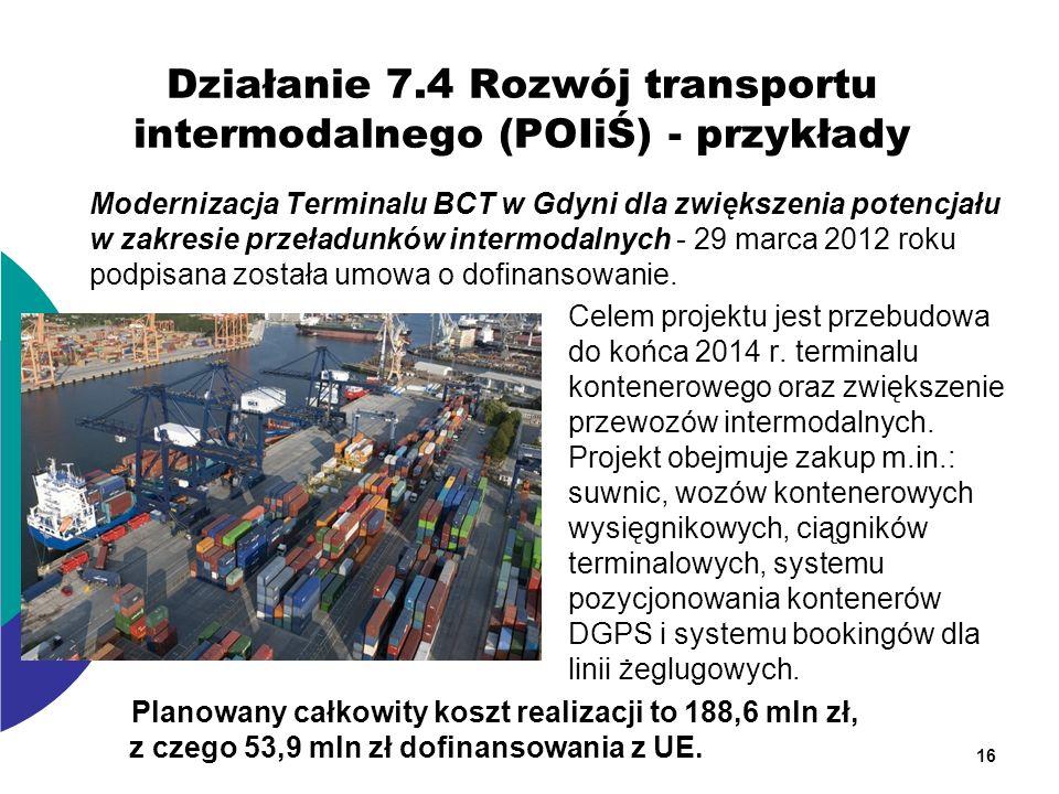 Działanie 7.4 Rozwój transportu intermodalnego (POIiŚ) - przykłady