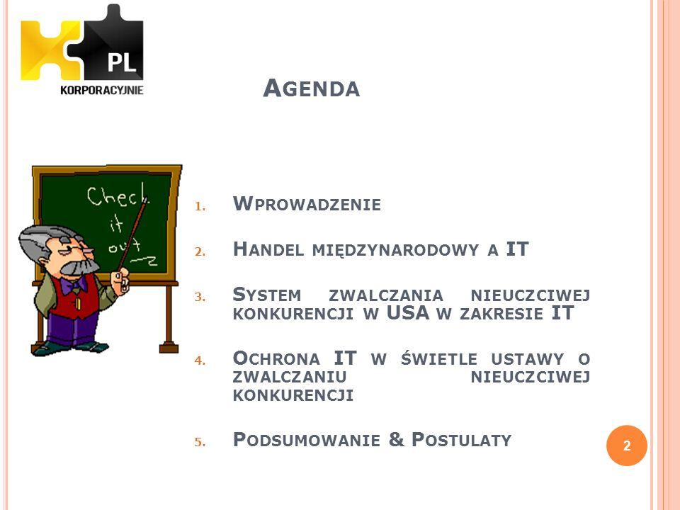 Agenda Wprowadzenie Handel międzynarodowy a IT