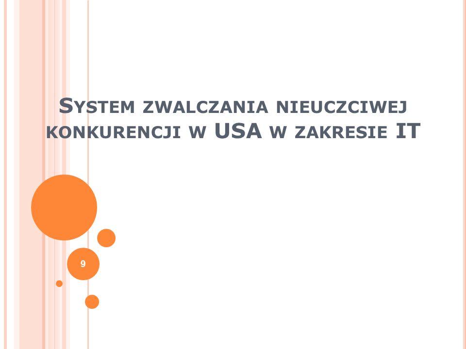 System zwalczania nieuczciwej konkurencji w USA w zakresie IT
