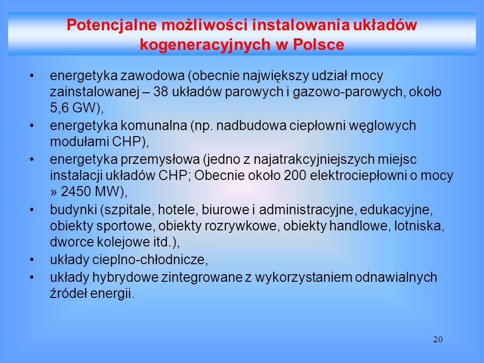 Potencjalne możliwości instalowania układów kogeneracyjnych w Polsce