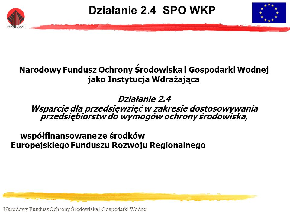 Działanie 2.4 SPO WKP Narodowy Fundusz Ochrony Środowiska i Gospodarki Wodnej. jako Instytucja Wdrażająca.