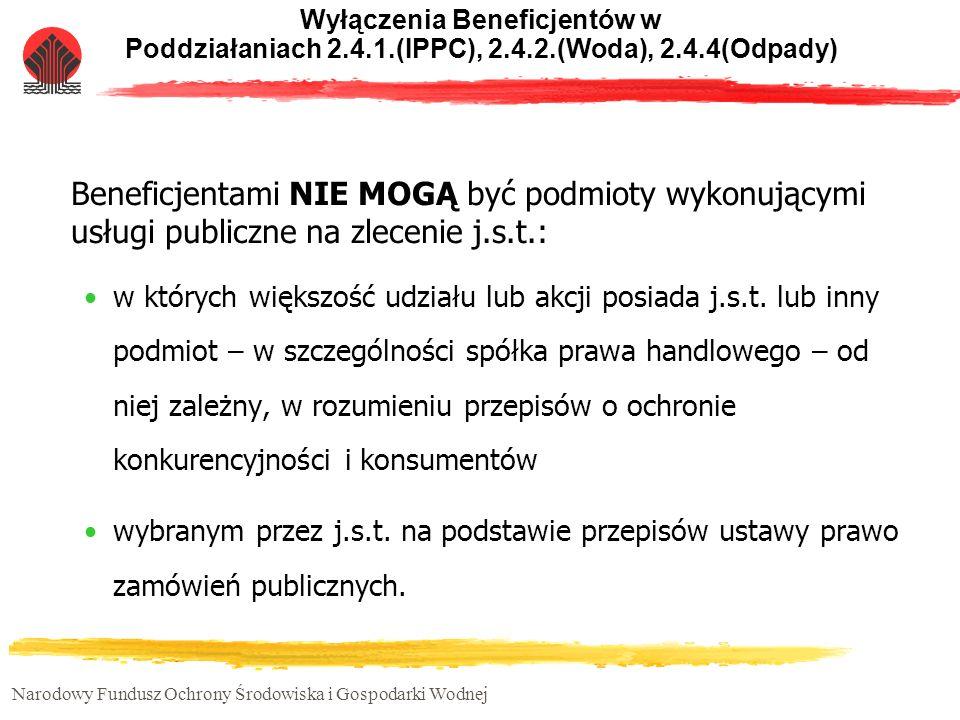 Wyłączenia Beneficjentów w Poddziałaniach 2. 4. 1. (IPPC), 2. 4. 2