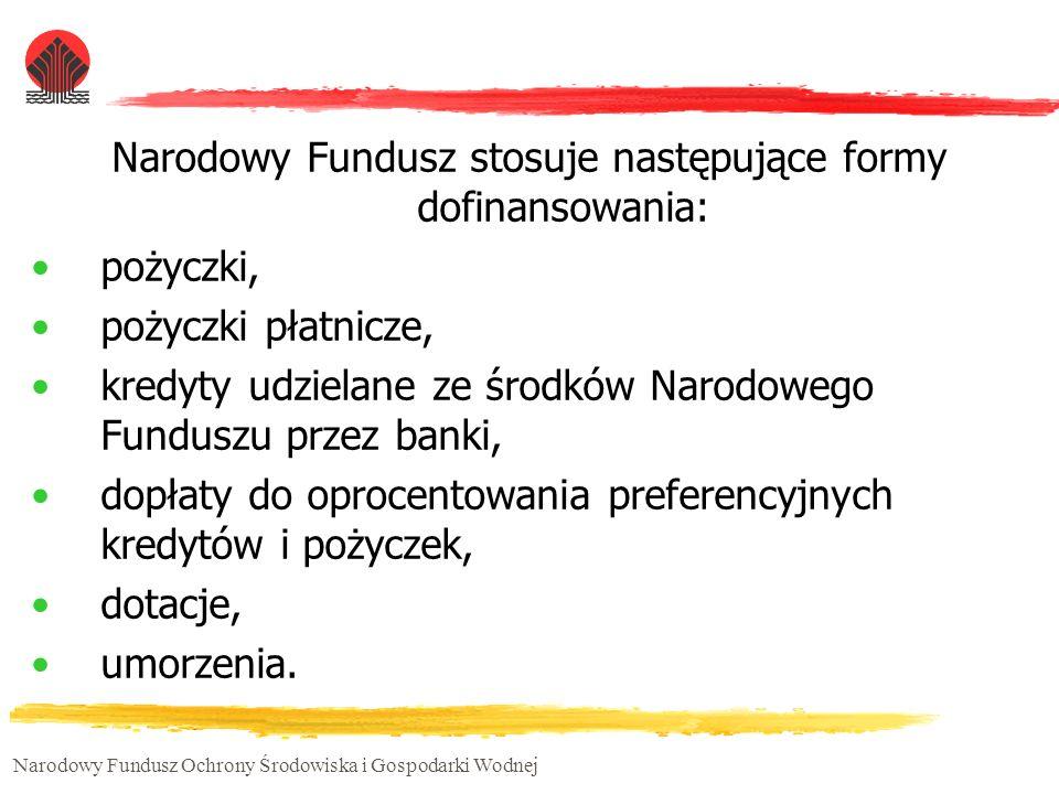 Narodowy Fundusz stosuje następujące formy dofinansowania: