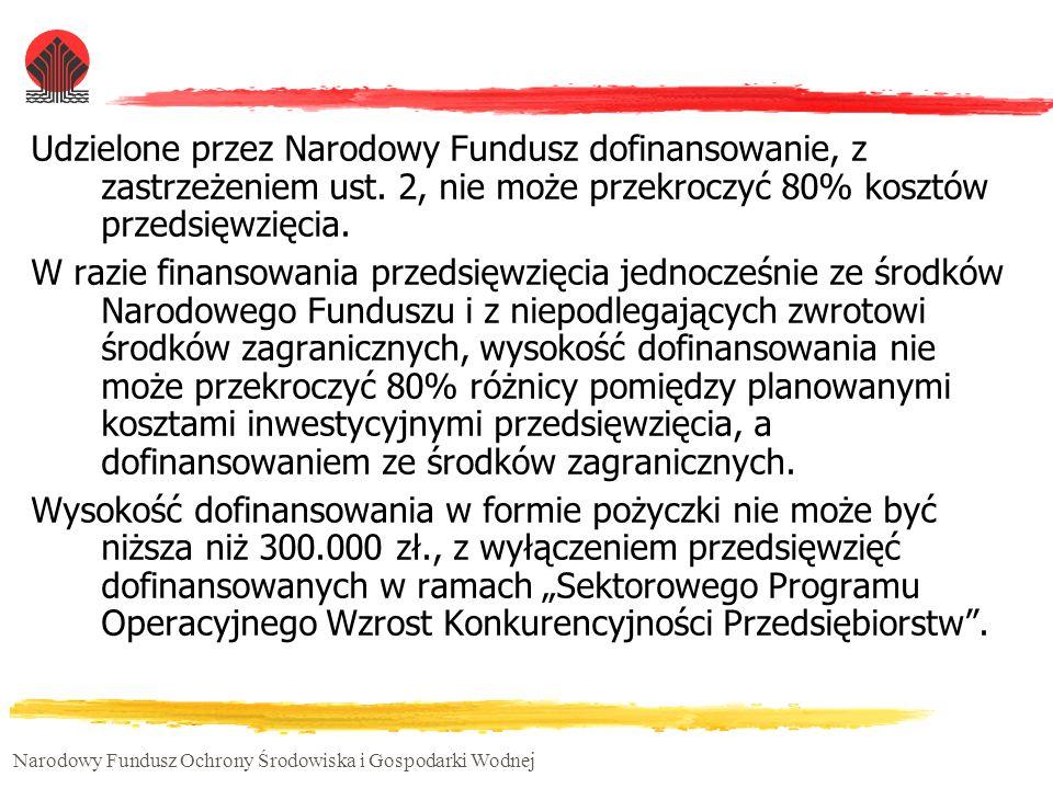 Udzielone przez Narodowy Fundusz dofinansowanie, z zastrzeżeniem ust