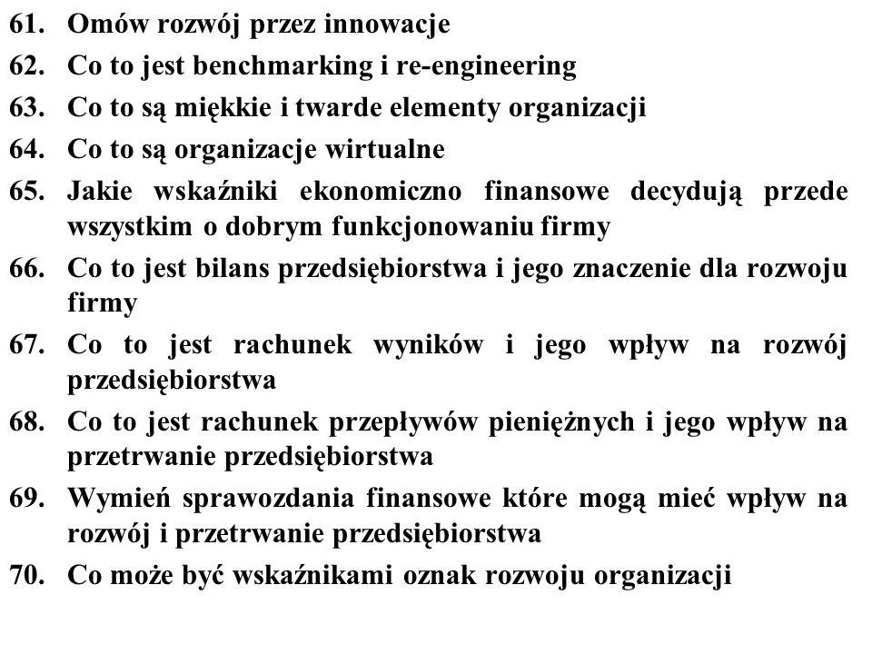 61. Omów rozwój przez innowacje
