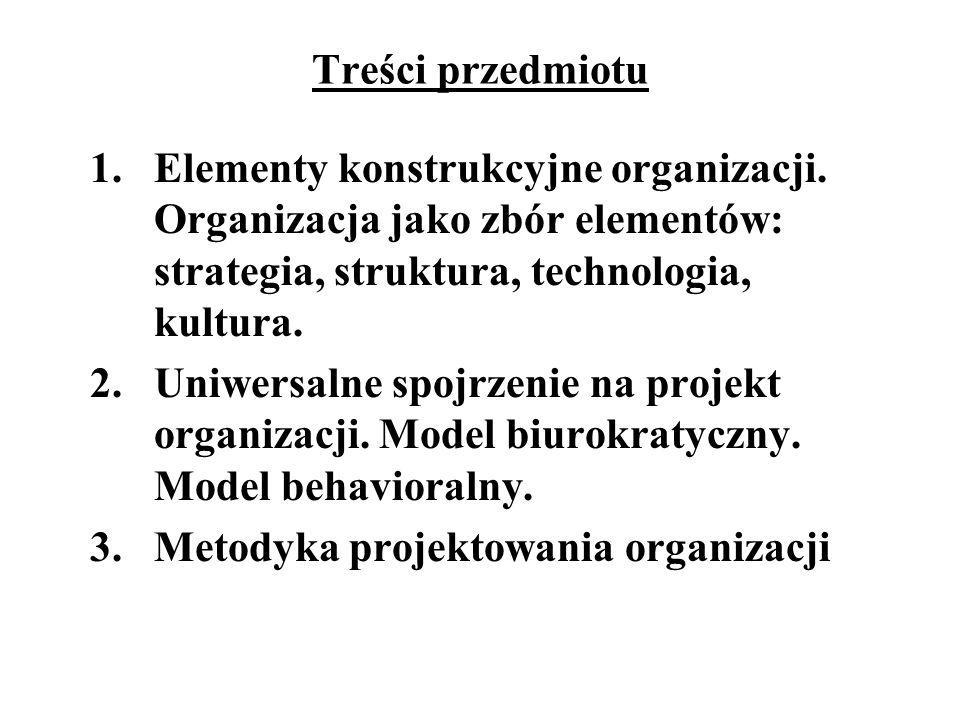 Treści przedmiotu Elementy konstrukcyjne organizacji. Organizacja jako zbór elementów: strategia, struktura, technologia, kultura.