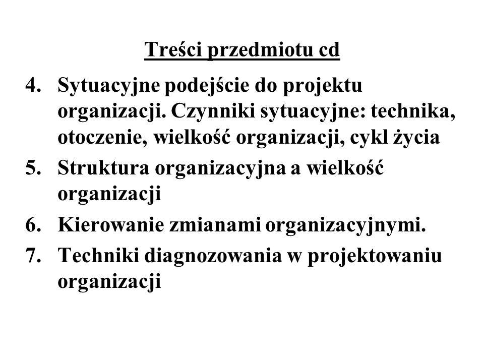 Treści przedmiotu cd 4. Sytuacyjne podejście do projektu organizacji. Czynniki sytuacyjne: technika, otoczenie, wielkość organizacji, cykl życia.