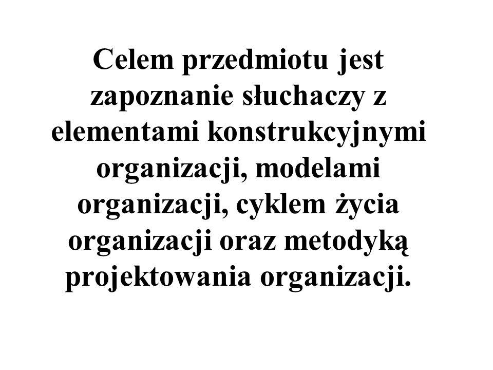 Celem przedmiotu jest zapoznanie słuchaczy z elementami konstrukcyjnymi organizacji, modelami organizacji, cyklem życia organizacji oraz metodyką projektowania organizacji.