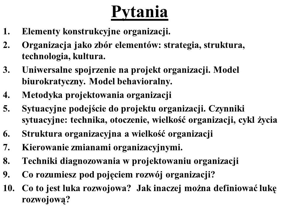 Pytania Elementy konstrukcyjne organizacji.