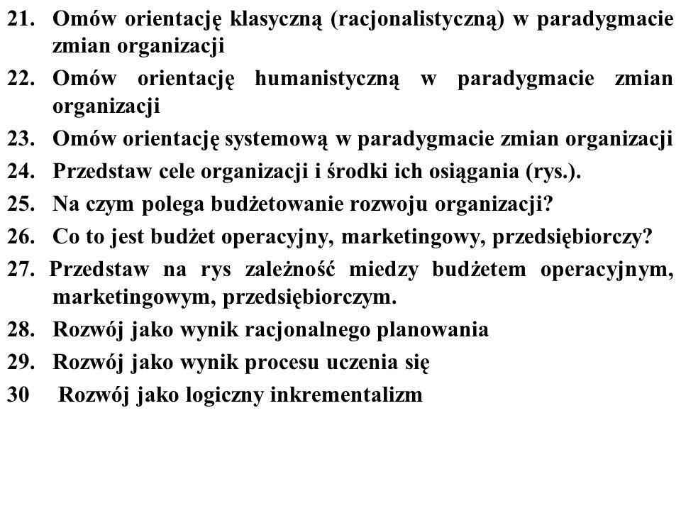 Omów orientację klasyczną (racjonalistyczną) w paradygmacie zmian organizacji