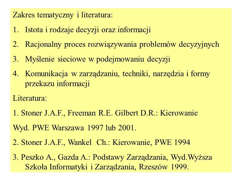 Zakres tematyczny i literatura: