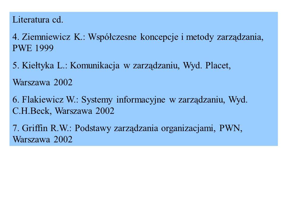 Literatura cd. 4. Ziemniewicz K.: Współczesne koncepcje i metody zarządzania, PWE 1999. 5. Kiełtyka L.: Komunikacja w zarządzaniu, Wyd. Placet,