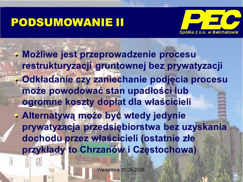 PODSUMOWANIE II Możliwe jest przeprowadzenie procesu restrukturyzacji gruntownej bez prywatyzacji.