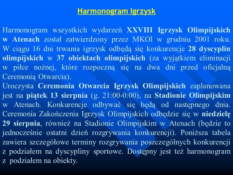 Harmonogram Igrzysk