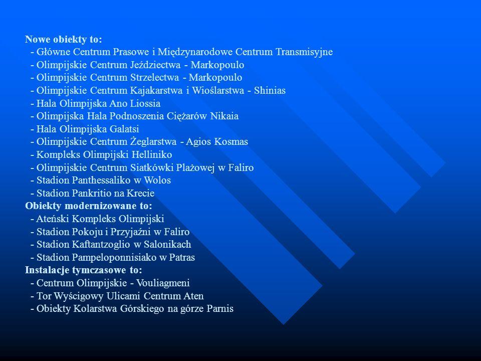 Nowe obiekty to: - Główne Centrum Prasowe i Międzynarodowe Centrum Transmisyjne - Olimpijskie Centrum Jeździectwa - Markopoulo - Olimpijskie Centrum Strzelectwa - Markopoulo - Olimpijskie Centrum Kajakarstwa i Wioślarstwa - Shinias - Hala Olimpijska Ano Liossia - Olimpijska Hala Podnoszenia Ciężarów Nikaia - Hala Olimpijska Galatsi - Olimpijskie Centrum Żeglarstwa - Agios Kosmas - Kompleks Olimpijski Helliniko - Olimpijskie Centrum Siatkówki Plażowej w Faliro - Stadion Panthessaliko w Wolos - Stadion Pankritio na Krecie Obiekty modernizowane to: - Ateński Kompleks Olimpijski - Stadion Pokoju i Przyjaźni w Faliro - Stadion Kaftantzoglio w Salonikach - Stadion Pampeloponnisiako w Patras Instalacje tymczasowe to: - Centrum Olimpijskie - Vouliagmeni - Tor Wyścigowy Ulicami Centrum Aten - Obiekty Kolarstwa Górskiego na górze Parnis