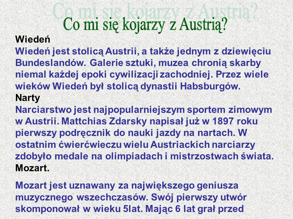 Co mi się kojarzy z Austrią