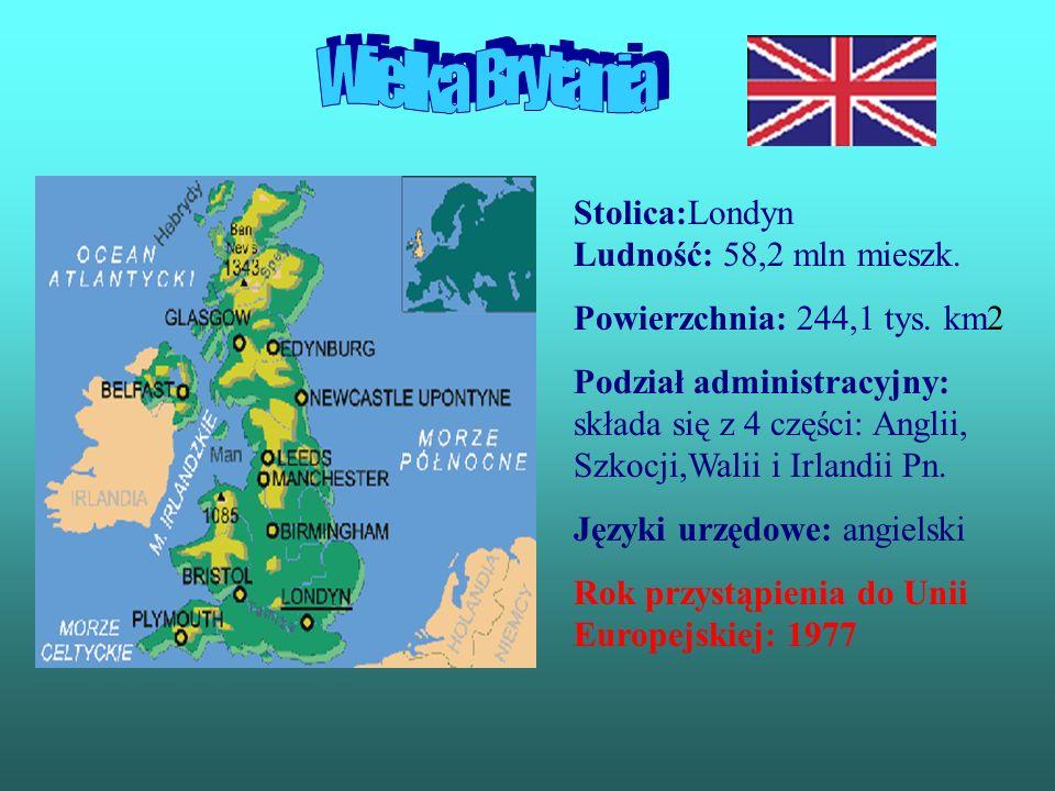 Wielka Brytania Stolica:Londyn Ludność: 58,2 mln mieszk.
