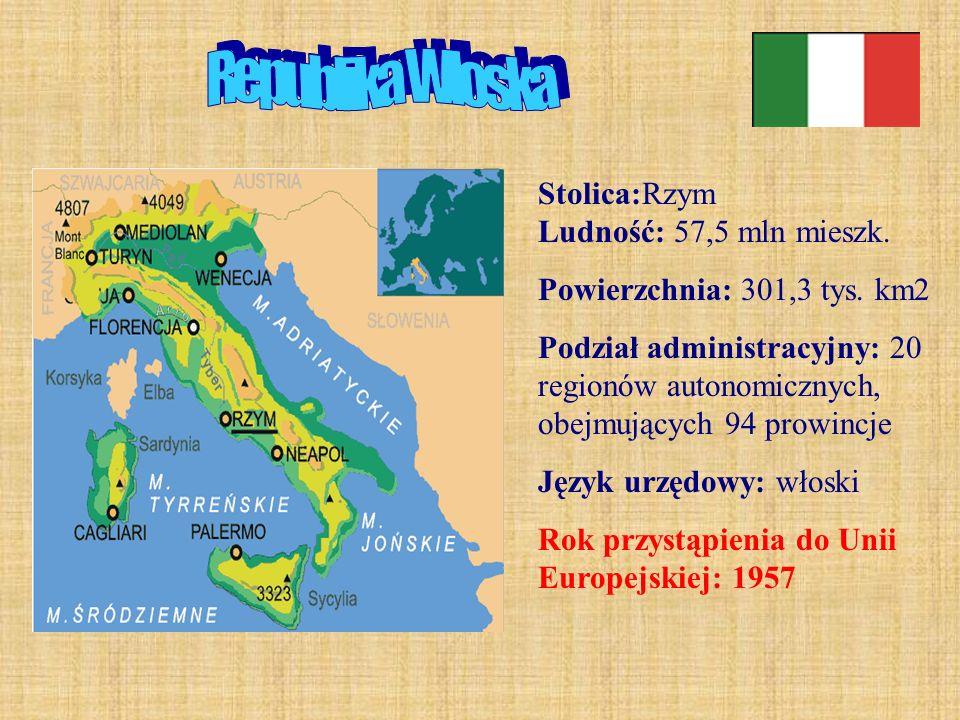 Republika Włoska Stolica:Rzym Ludność: 57,5 mln mieszk.