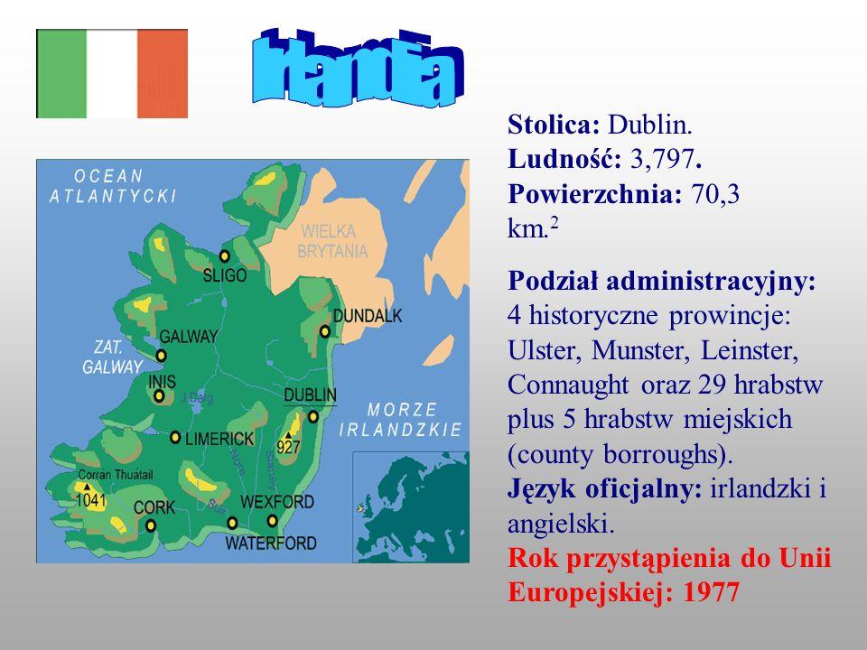 Irlandia Stolica: Dublin. Ludność: 3,797. Powierzchnia: 70,3 km.2