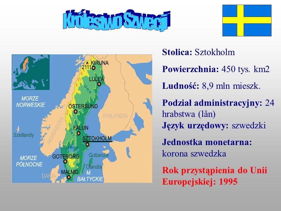 Królestwo Szwecji Stolica: Sztokholm Powierzchnia: 450 tys. km2